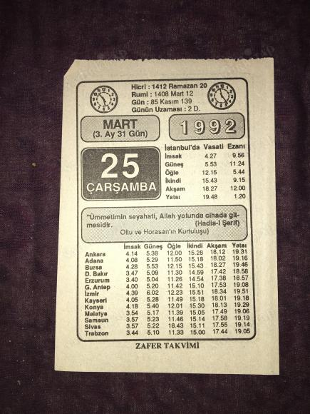 25 Mart 1992 Carsamba Zafer Takvimi Yapragi Nadir Kitap