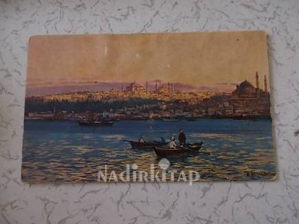Kartpostal Istanbul Bogaz Suleymaniye Camii Topkapi Sarayi